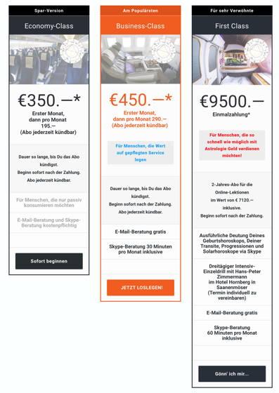 Zahlungs-Varianten Online-Seminar Astrologie